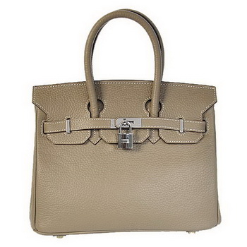 Hermes Birkin 25CM Tote Bags Togo Leather Dark Grey Silver
