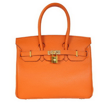 Hermes Birkin 25CM Tote Bags Togo Leather Orange Godlen