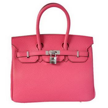 Hermes Birkin 25CM Tote Bags Togo Leather Peach Silver