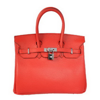 Hermes Birkin 25CM Tote Bags Togo Leather Red Silver