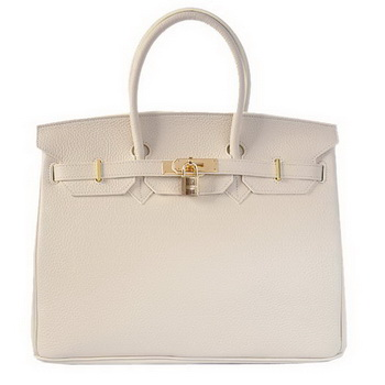 Hermes Birkin 35CM Tote Bags Togo Leather Beige Golden