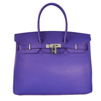 Hermes Birkin 35CM Tote Bags Togo Leather Blue Silver