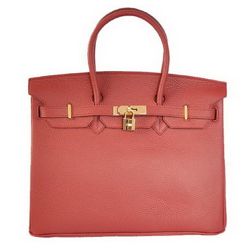 Hermes Birkin 35CM Tote Bags Togo Leather Bordeaux Golden