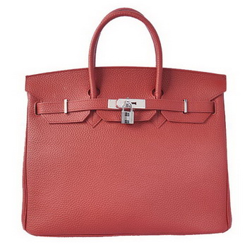 Hermes Birkin 35CM Tote Bags Togo Leather Bordeaux Silver