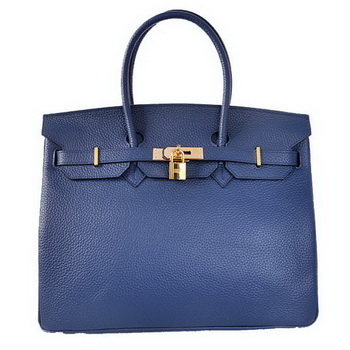 Hermes Birkin 35CM Tote Bags Togo Leather Dark Blue Golden