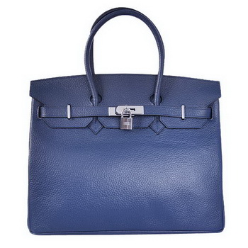 Hermes Birkin 35CM Tote Bags Togo Leather Dark Blue Silver