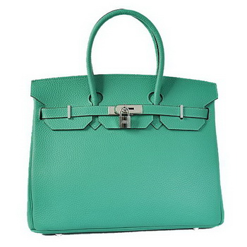 Hermes Birkin 35CM Tote Bags Togo Leather Green Silver