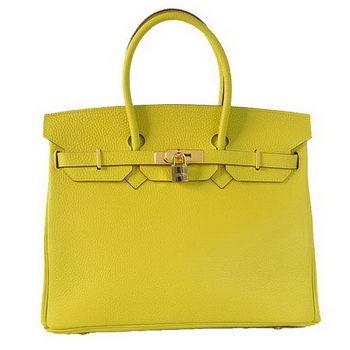 Hermes Birkin 35CM Tote Bags Togo Leather Lemon Golden