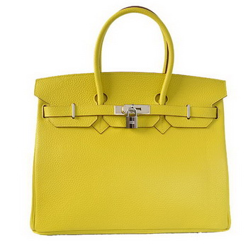 Hermes Birkin 35CM Tote Bags Togo Leather Lemon Silver