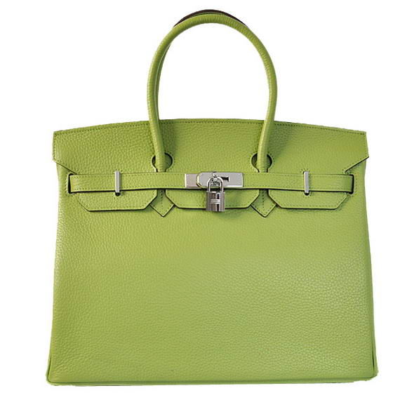 Hermes Birkin 35CM Tote Bags Togo Leather Light Green Silver