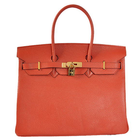 Hermes Birkin 35CM Tote Bags Togo Leather Mid Red Golden
