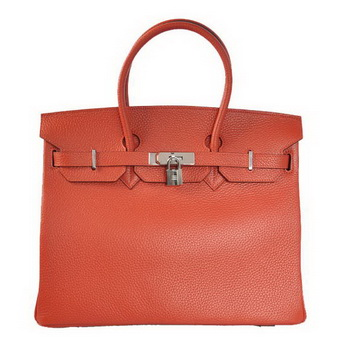 Hermes Birkin 35CM Tote Bags Togo Leather Mid Red Silver