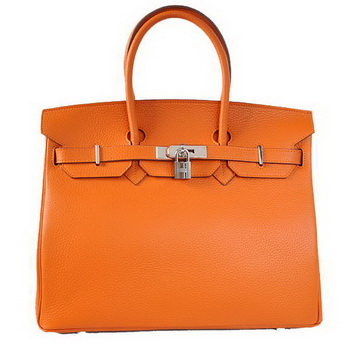 Hermes Birkin 35CM Tote Bags Togo Leather Orange Silver