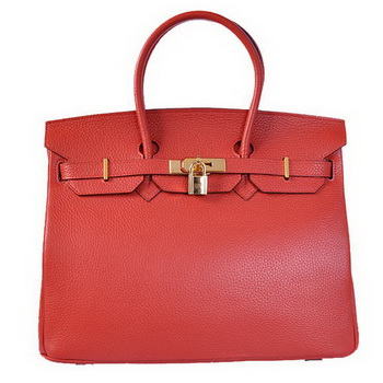 Hermes Birkin 35CM Tote Bags Togo Leather Red Golden
