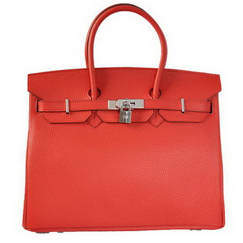 Hermes Birkin 35CM Tote Bags Togo Leather Red Silver