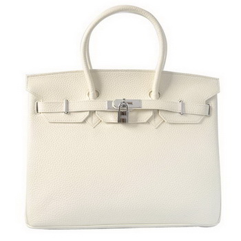Hermes Birkin 35CM Tote Bags Togo Leather White Silver