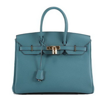 Hermes Birkin 35CM Smooth Leather Handbag 6089 Blue Golden