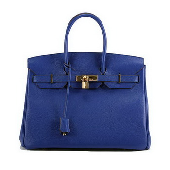 Hermes Birkin 35CM Smooth Leather Handbag 6089 Dark Blue Golden