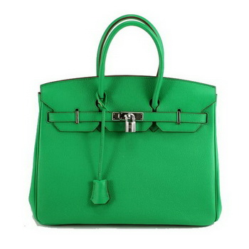 Hermes Birkin 35CM Smooth Leather Handbag 6089 Dark Green Silver