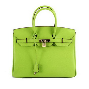 Hermes Birkin 35CM Smooth Leather Handbag 6089 Green Golden