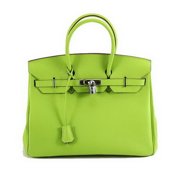 Hermes Birkin 35CM Smooth Leather Handbag 6089 Green Silver