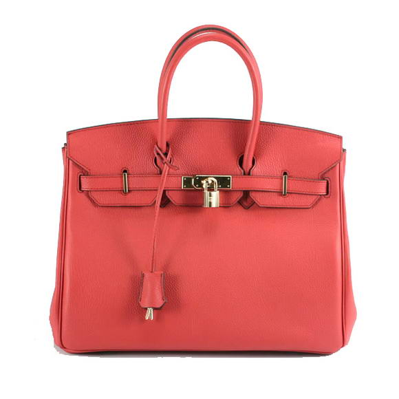 Hermes Birkin 35CM Smooth Leather Handbag 6089 Red Golden