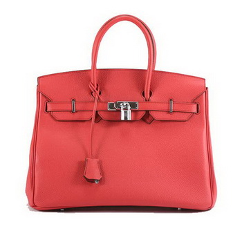 Hermes Birkin 35CM Smooth Leather Handbag 6089 Red Silver
