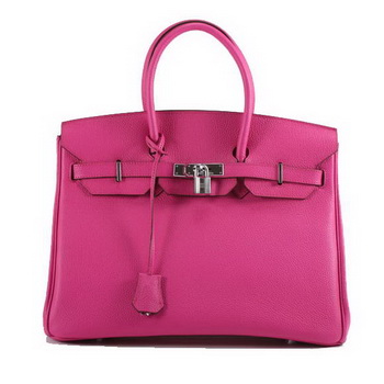 Hermes Birkin 35CM Smooth Leather Handbag 6089 Rose Silver