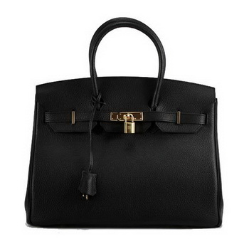 Hermes Birkin 35CM Togo Leather Handbag 6089 Black Golden