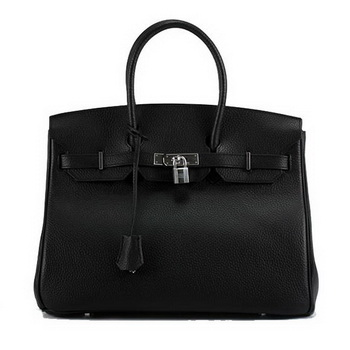 Hermes Birkin 35CM Togo Leather Handbag 6089 Black Silver