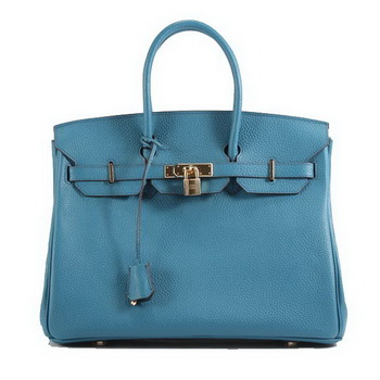 Hermes Birkin 35CM Togo Leather Handbag 6089 Blue Golden