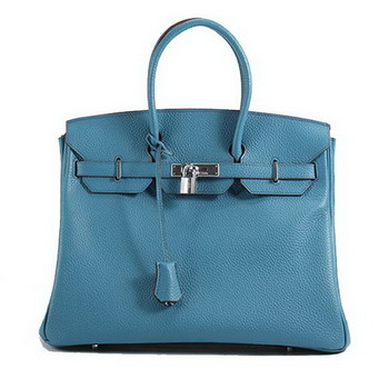 Hermes Birkin 35CM Togo Leather Handbag 6089 Blue Silver