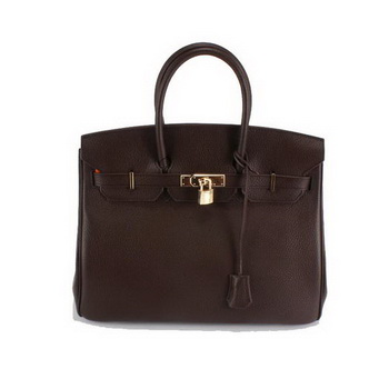 Hermes Birkin 35CM Togo Leather Handbag 6089 Dark Coffee Golden