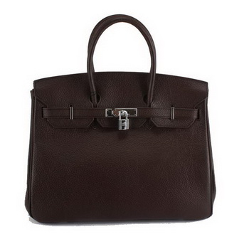 Hermes Birkin 35CM Togo Leather Handbag 6089 Dark Coffee Silver