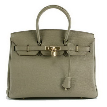 Hermes Birkin 35CM Togo Leather Handbag 6089 Dark Grey Golden