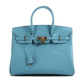 Hermes Birkin 35CM Togo Leather Handbag 6089 Light Blue Golden