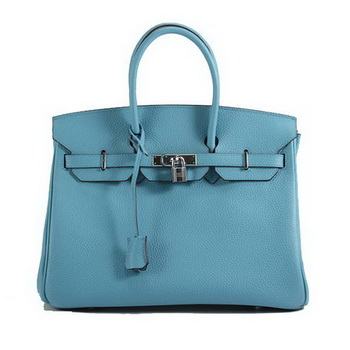 Hermes Birkin 35CM Togo Leather Handbag 6089 Light Blue Silver