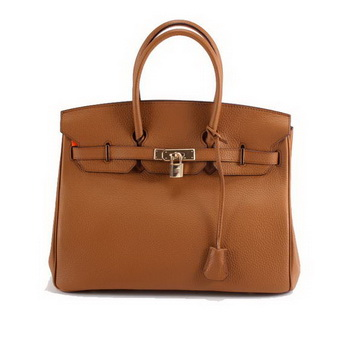 Hermes Birkin 35CM Togo Leather Handbag 6089 Light Coffee Golden
