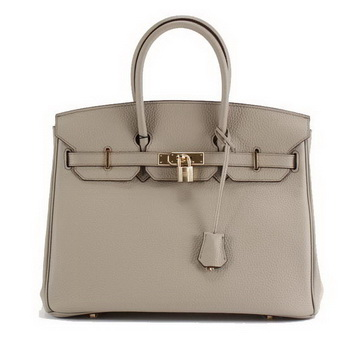 Hermes Birkin 35CM Togo Leather Handbag 6089 Light Grey Golden