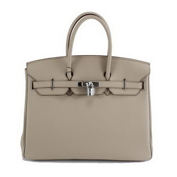 Hermes Birkin 35CM Togo Leather Handbag 6089 Light Grey Silver