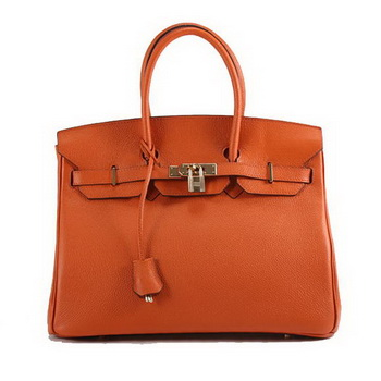 Hermes Birkin 35CM Togo Leather Handbag 6089 Orange Golden