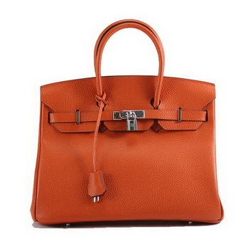 Hermes Birkin 35CM Togo Leather Handbag 6089 Orange Silver