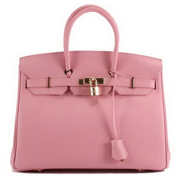 Hermes Birkin 35CM Togo Leather Handbag 6089 Pink Golden