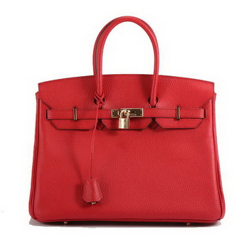 Hermes Birkin 35CM Togo Leather Handbag 6089 Red Golden