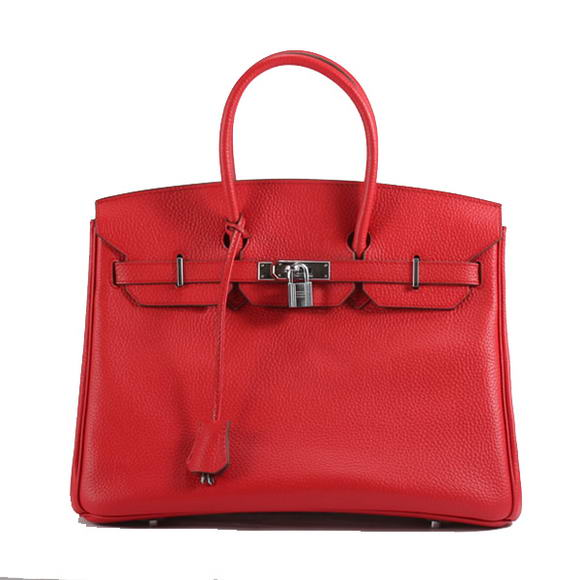 Hermes Birkin 35CM Togo Leather Handbag 6089 Red Silver