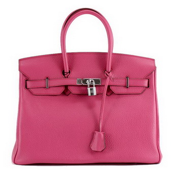 Hermes Birkin 35CM Togo Leather Handbag 6089 Rose Silver