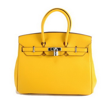 Hermes Birkin 35CM Togo Leather Handbag 6089 Yellow Silver