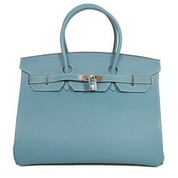 Hermes Birkin 35CM Tote Bags Smooth Togo Leather Blue Silver