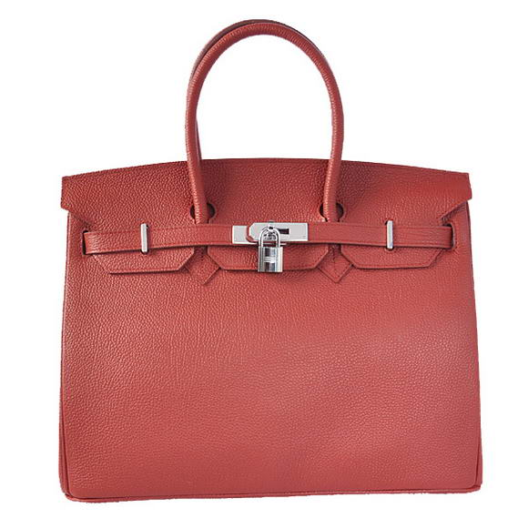 Hermes Birkin 35CM Tote Bags Smooth Togo Leather Bordeaux Silver