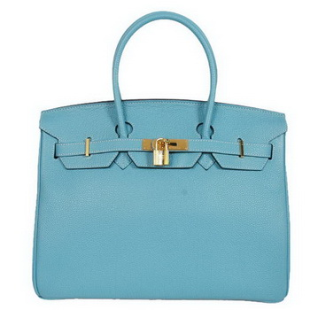 Hermes Birkin 35CM Tote Bags Smooth Togo Leather Light Blue Golden